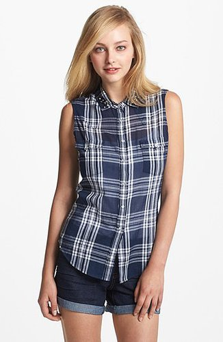 Two by Vince Camuto Sleeveless Plaid Shirt New Navy Large