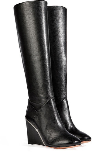 Diane von Furstenberg Leather Paula Boots in Black
