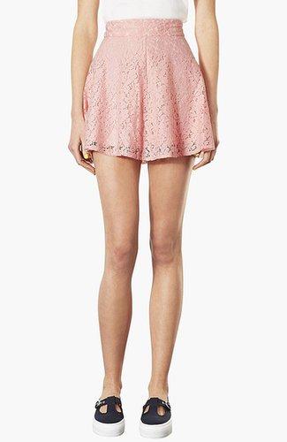 Topshop High Waist Lace Skater Skirt Pink 10