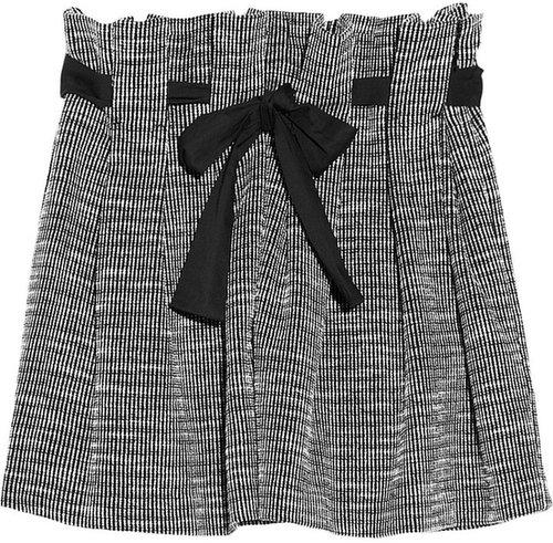 Thakoon Addition Paperbag-waist knitted tweed mini skirt