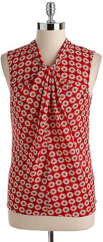 ANNE KLEIN Sleeveless Twisted-Front Printed Blouse