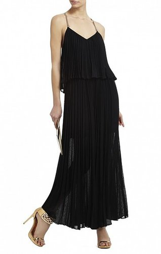 BCBG JOELLE TIERED MAXI PLEATED DRESS