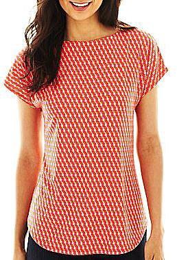 Liz Claiborne Dolman-Sleeve Print Top