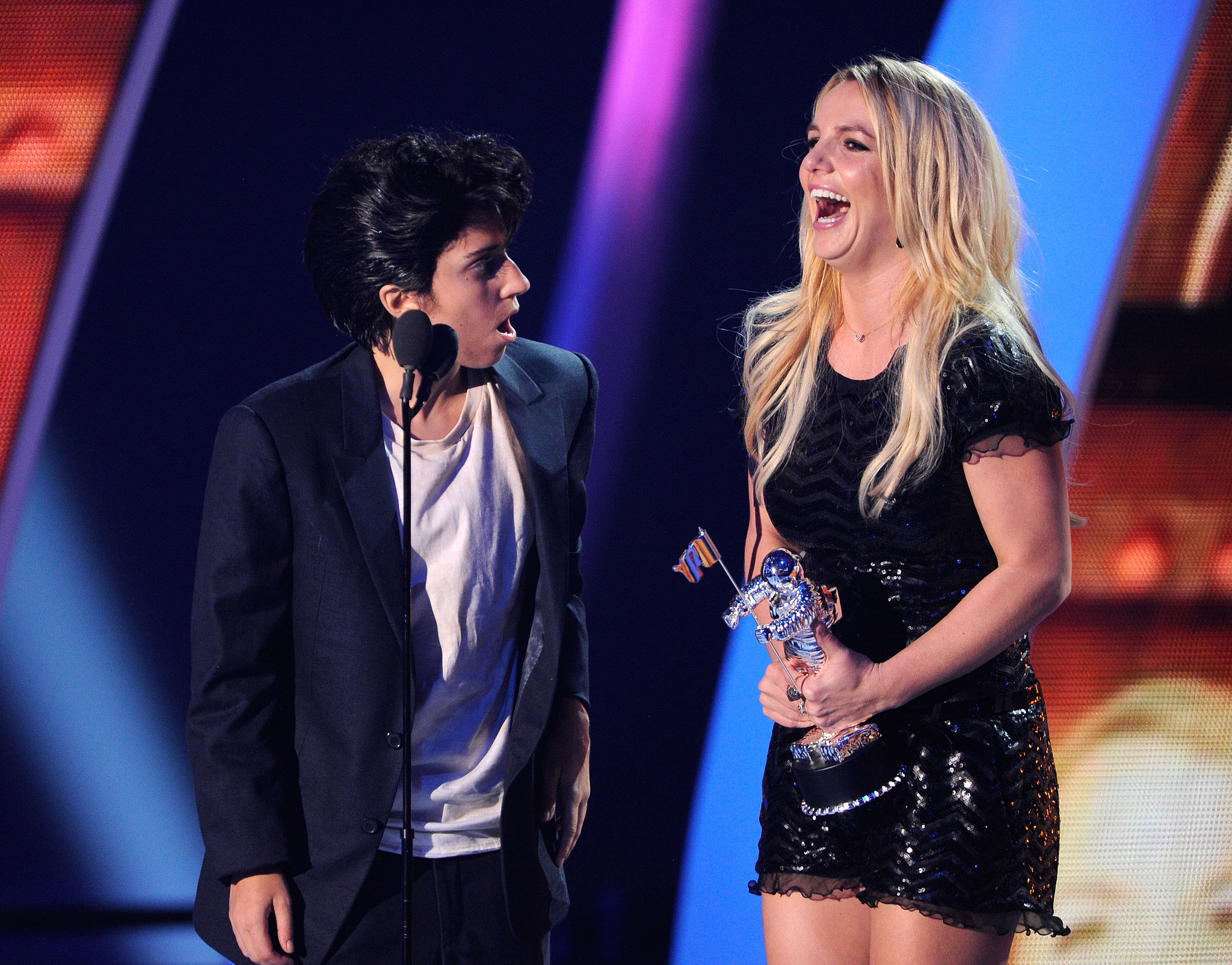 Lady Gaga, dressed as her alter ego, presented Britney Spears with a Moonman at the 2011 show.