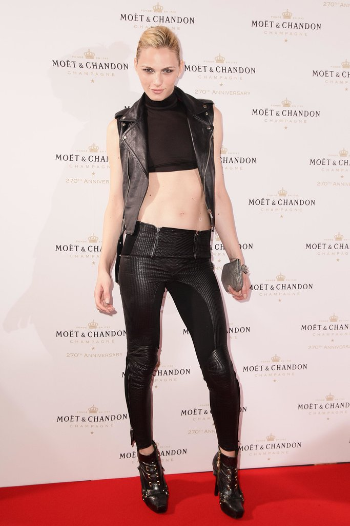 Andrej Pejic toughened up Moët & Chandon's anniversary bash in leather separates.