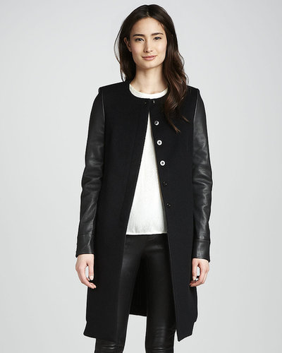 J Brand Ready to Wear Emilie Leather-Sleeve Wool Coat