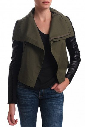 Veda Max Army Leather Sleeved Jacket