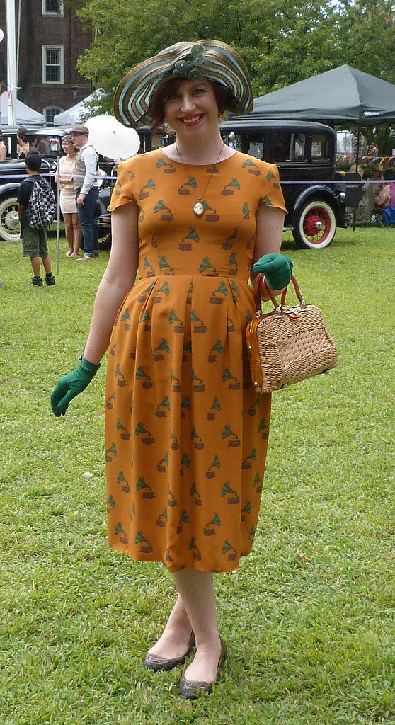 A dress from your current stable can go old-school with the right accessories. Copy this partyer with wrist-length gloves and a lady-like purse. Photo: Melissa Liebling-Goldberg