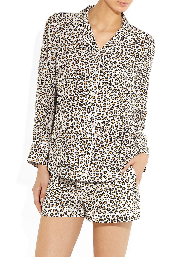 Equipment Leopard-Print Washed-Silk Pajamas