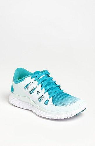 Nike 'Free 5.0+ Breathe' Running Shoe (Women) White/ Turquoise 5.5 M