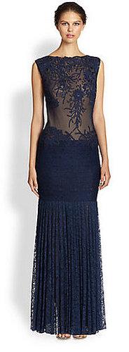 Tadashi Shoji Appliquéd Sheer-Top Lace Gown