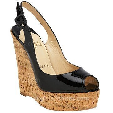 Lovely Christian Louboutin Wedges Une Plume 140mm Black Online Sale