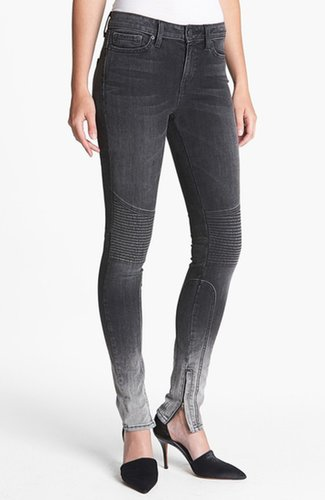 Vince 'Dylan' Skinny Seamed Moto Jeans Womens Black Ombre Size 27 27