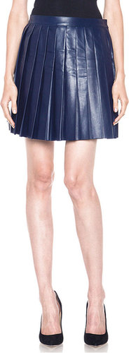 Derek Lam Leather Pleated Skirt in Blue
