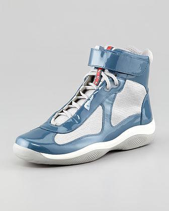 Prada America's Cup Hi-Top Sneaker, Blue/Silver