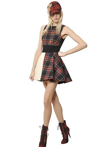 Wool Crepe & Wool Tartan Dress