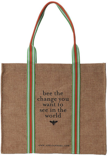 Apple & Bee Eco Tote Bag, Bee the Change 1 ea