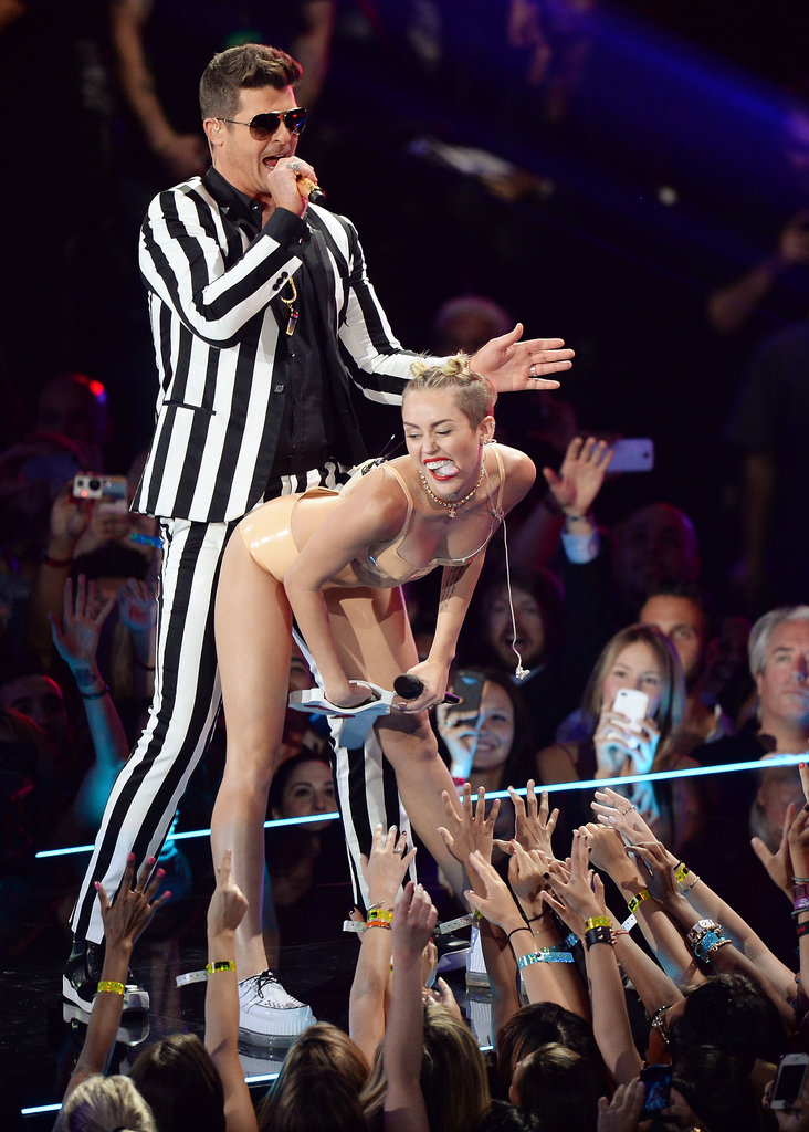 """Miley Cyrus joined Robin Thicke on stage for a performance of """"Blurred Lines."""""""