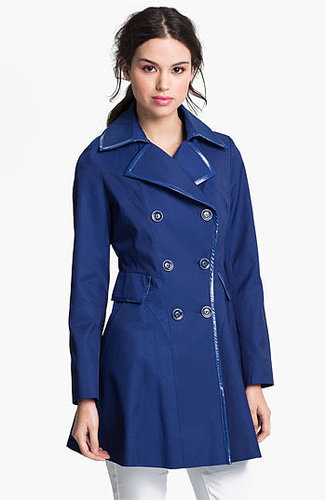 Via Spiga Patent Trim Trench Coat (Regular & Petite) (Online Only) X-Large