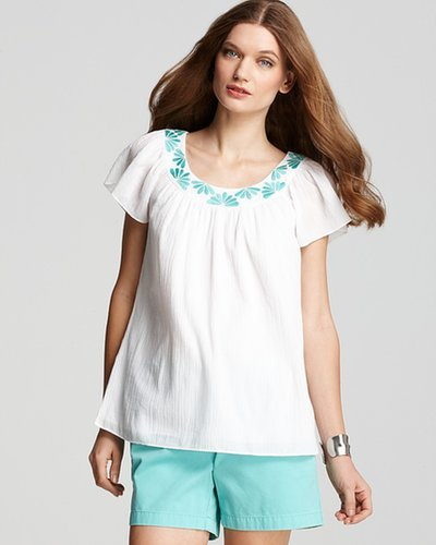 Vineyard Vines Embroidered Flutter Sleeve Top