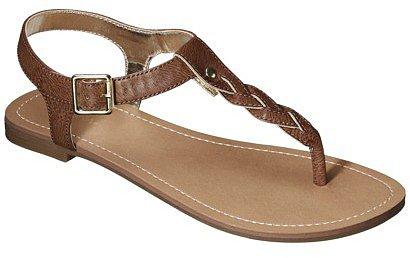 Women's Merona® Erin Braided Upper Sandal - Cognac