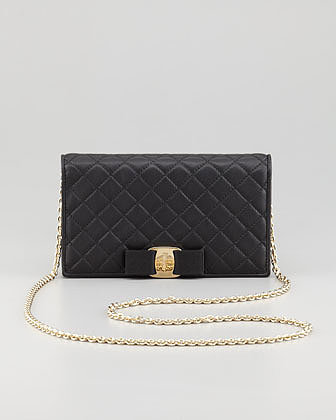 Salvatore Ferragamo Miss Vara Quilted Mini Crossbody Bag, Black