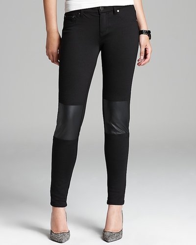 Aqua Pants - Faux Leather Knee Patch Ponte