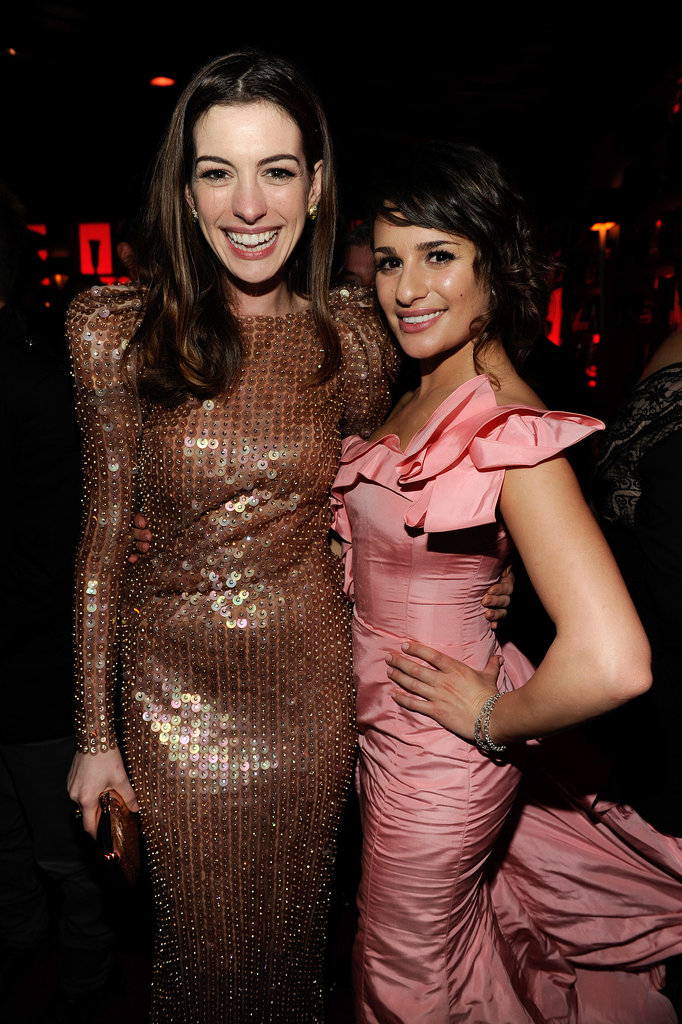 Lea and Anne Hathaway made a glamourous pair at a January 2011 Golden Globes afterparty in LA.
