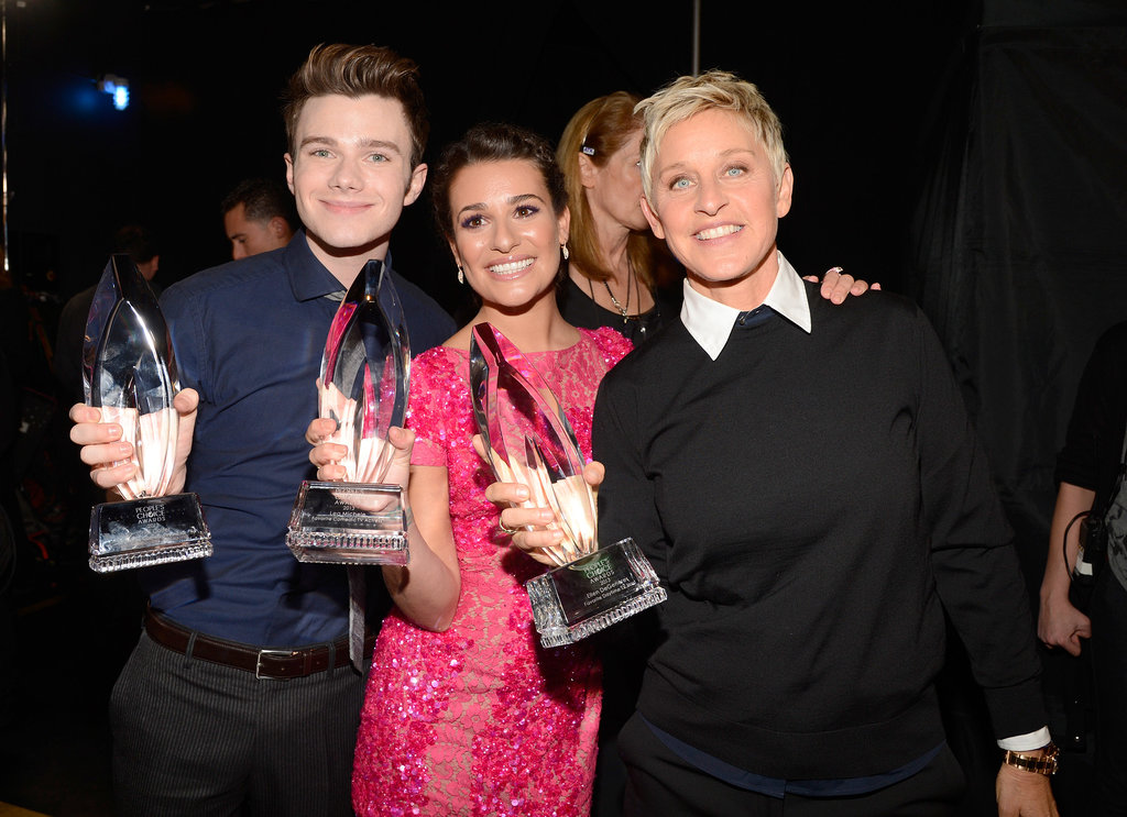 She celebrated her People's Choice Award win with Ellen DeGeneres and Chris Colfer in January 2013.