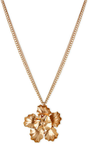 Kenneth Cole New York Necklace, Gold-Tone Double Flower Pendant Necklace