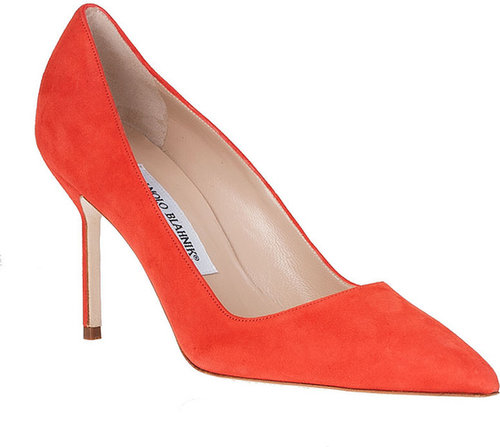 Manolo Blahnik BB 90 orange suede pump