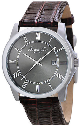 Kenneth Cole New York Slim Leather Strap Watch Brown