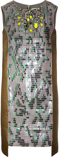 Matthew Williamson Bead-embellished brocade dress