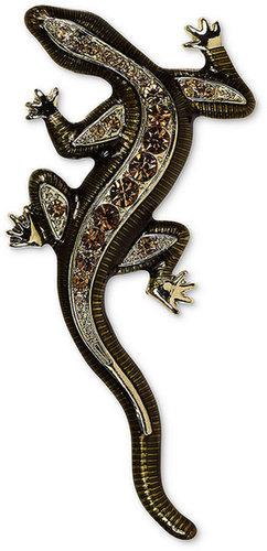 Jones New York Brooch, Gold-Tone Crystal Salamander Pin