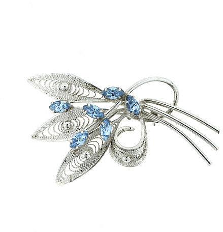 Lanie Lynn Vintage Jewelry Blue Filigree Sterling Brooch