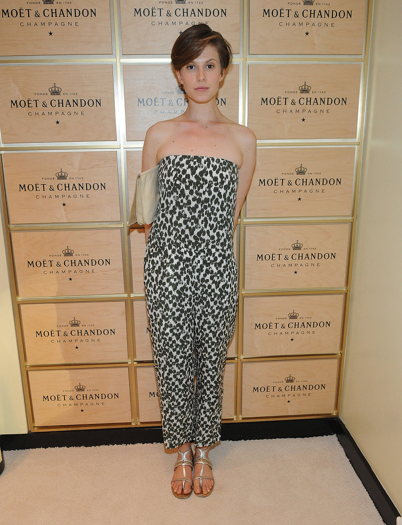 Elettra Wiedemann got wild with a strapless leopard jumpsuit at the Moët & Chandon suite at the 2013 US Open.