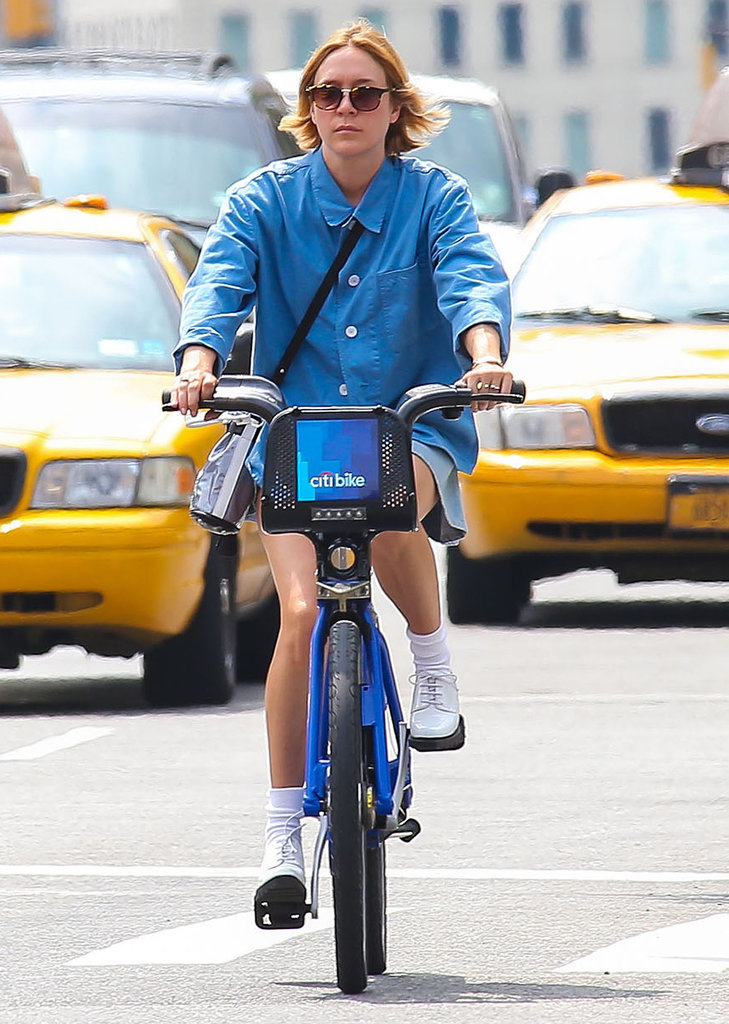 Chloë Sevigny rented a Citibike for an August ride in NYC.