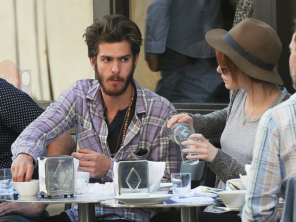 Andrew Garfield and Emma Stone dined at an outdoor cafe in London.