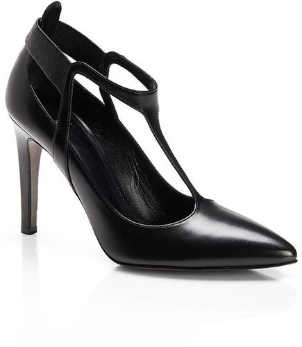 'Talia' | Shiny Leather T-Strap Pumps by BOSS