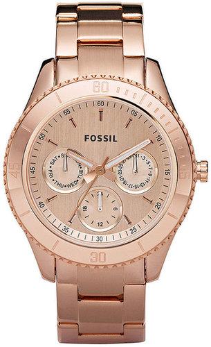 Fossil Watch, Women's Stella Rose Gold-Tone Stainless Steel Bracelet 37mm ES2859