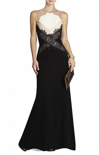 BCBG AIDA SLEEVELESS GOWN WITH LACE CONTRAST