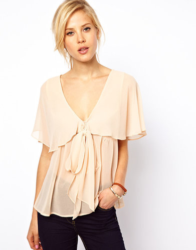 ASOS Blouse With Ruffle Cape And Pussybow