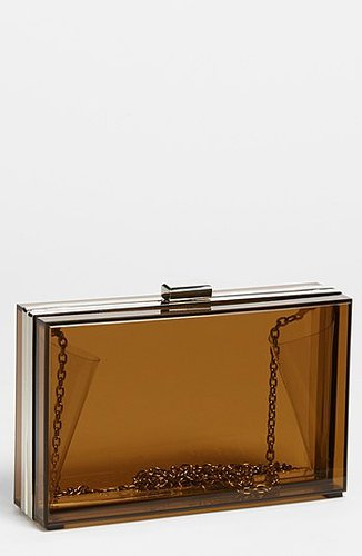 Expressions NYC Clear Box Clutch Brown
