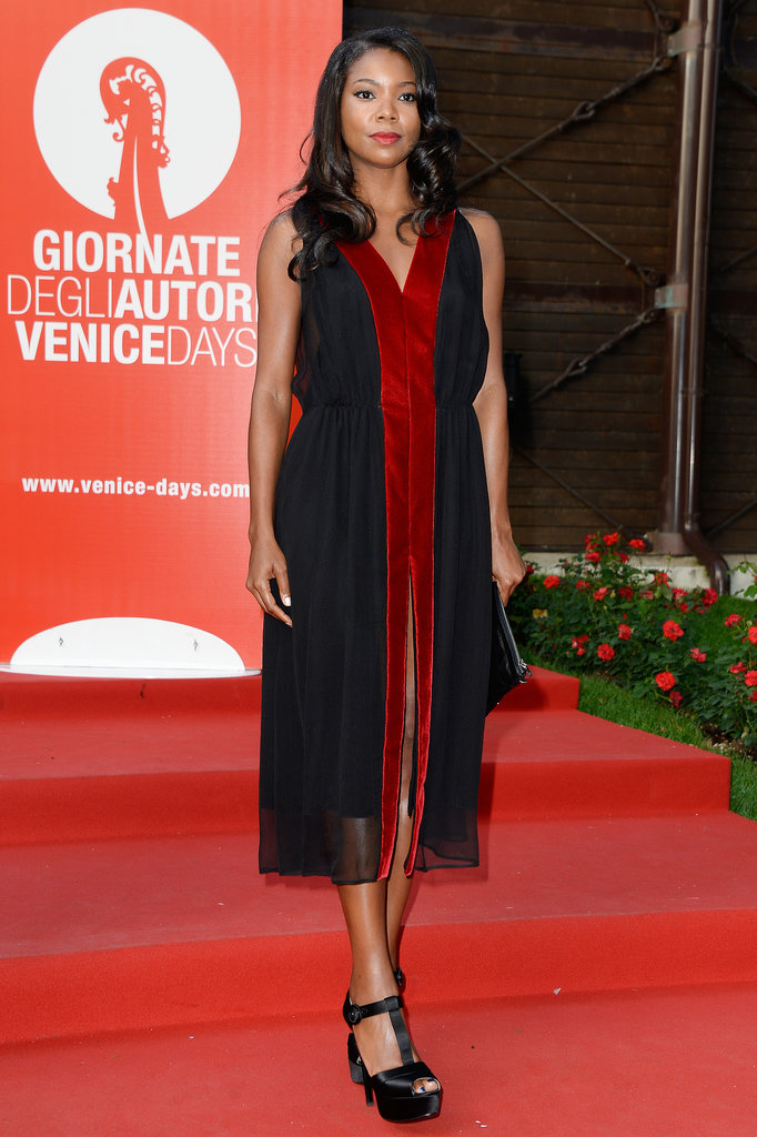 Gabrielle Union showed off a two-toned midi-length dress and t-strap sandals at the Miu Miu Women's Tales premiere.