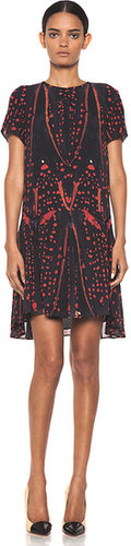 Proenza Schouler Short Sleeve Printed Drop Waist Dress in Red Bug
