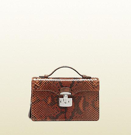 Lady Lock Python Briefcase Clutch