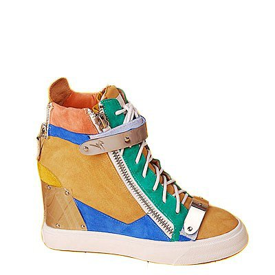GIUSEPPE ZANOTTI HIGH-TOP WITH SIDE ZIPS INTERNAL WEDGE SNEAKER GREEN