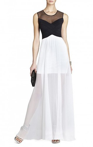 BCBG MAX AZRIA GIOVANNA GOWN COLOR-BLOCKED DRESS
