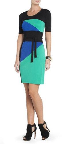 BCBG LETICIA COLOR-BLOCKED DRESS