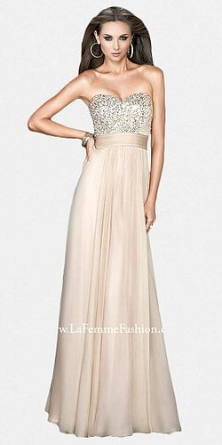 Classic Sequined Bodice Flattering Prom Dresses by La Femme